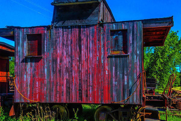 Red Caboose Photograph - Very Old Worn Caboose by Garry Gay