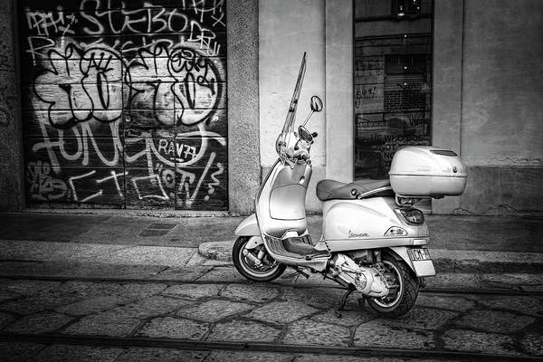 Italia Photograph - Vespa Scooter In Milan Italy In Black And White  by Carol Japp