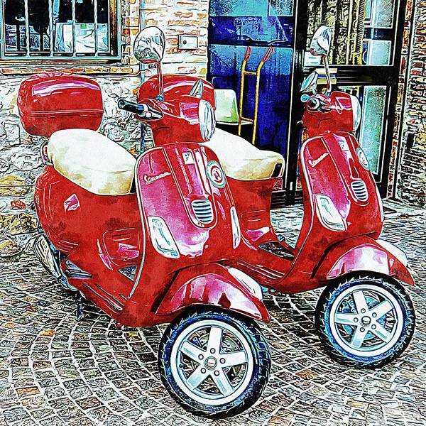 Photograph - Vespa Twins Red by Dorothy Berry-Lound