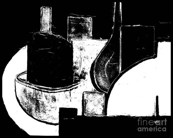 Painting - Vessels Very Black White by VIVA Anderson