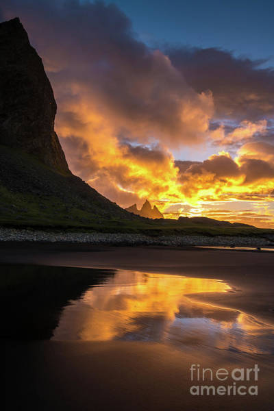 Glacial Photograph - Vestrahorn Fiery Sunrise Reflection by Mike Reid