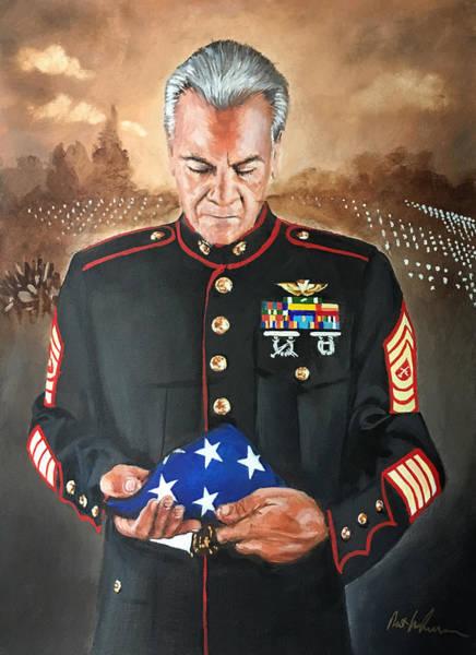 Wall Art - Painting - Veteran With Flag by Robert Korhonen
