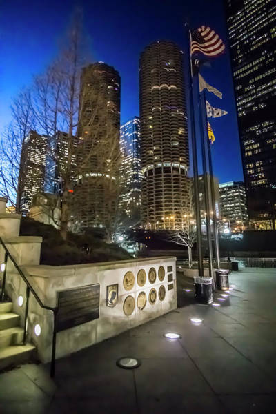 Photograph - Veteran's Memorial On The Chicago Riverwalk At Dusk by Sven Brogren
