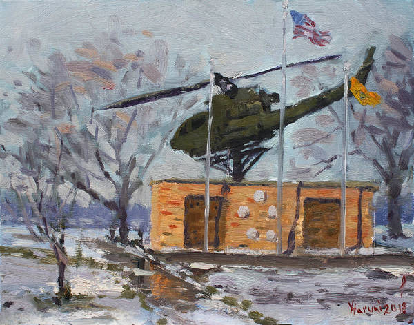 Helicopter Painting - Veterans Memorial Park In Tonawanda by Ylli Haruni