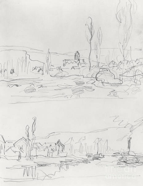 Vetheuil Wall Art - Drawing - Vetheuil From L'ile St Martin And Tugboat On The Seine Before Lavacourt, Before 1886 by Claude Monet