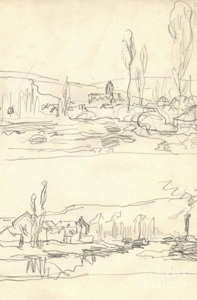 Vetheuil Wall Art - Drawing - Vetheuil Seen From The Ile Saint Martin, Tugboat On River Seine Facing Lavacourt by Claude Monet