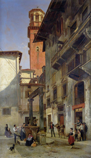 Oil Well Painting - Via Mazzanti In Verona by Jacques Carabain