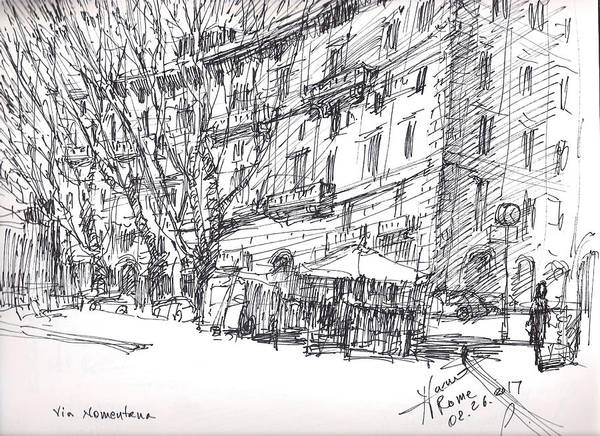 People Drawing - Via Nomentana Rome by Ylli Haruni