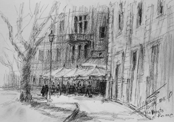 Drawing Painting - Via Veneto, Rome by Ylli Haruni