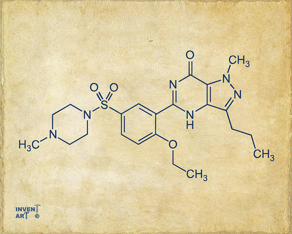 Molecule Wall Art - Digital Art - Viagra Molecular Structure Vintage by Nikki Marie Smith