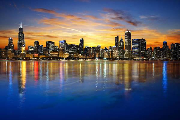 Jasmin Photograph - Vibrant Chicago Skyline Sunset by Jasmin Omerovic