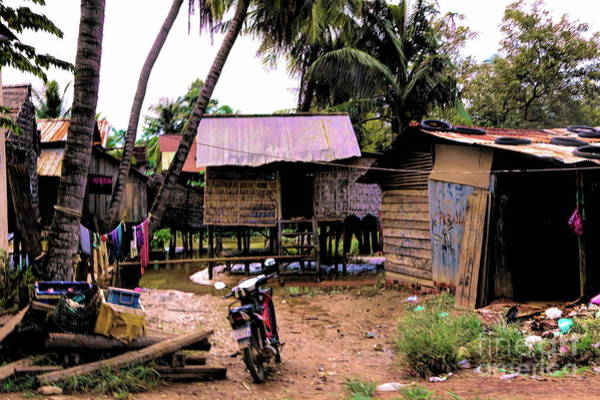 Mud House Photograph - Vibrant Color Poverty Home Cambodia  by Chuck Kuhn