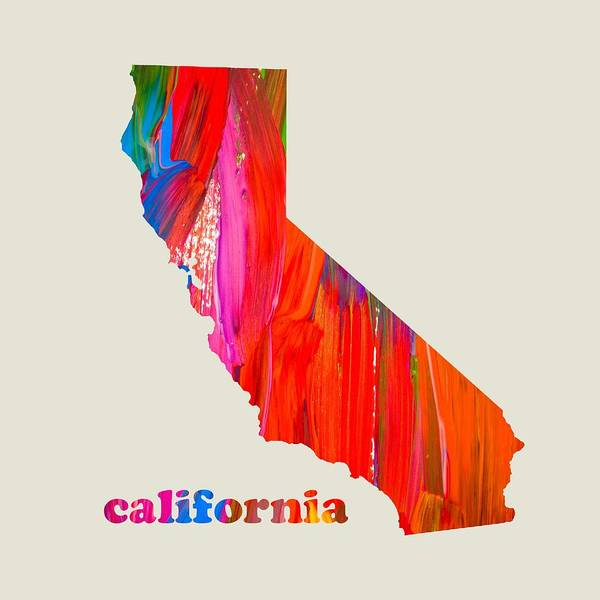 Vibrant Mixed Media - Vibrant Colorful California State Map Painting by Design Turnpike