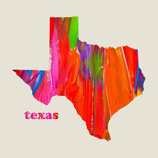 Vibrant Mixed Media - Vibrant Colorful Texas State Map Painting by Design Turnpike