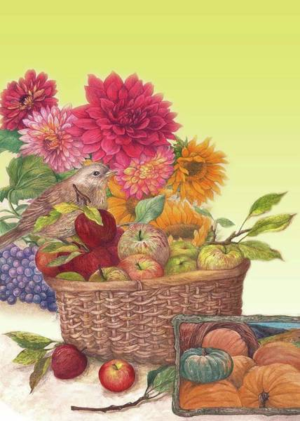 Painting - Vibrant Fall Florals And Harvest by Judith Cheng