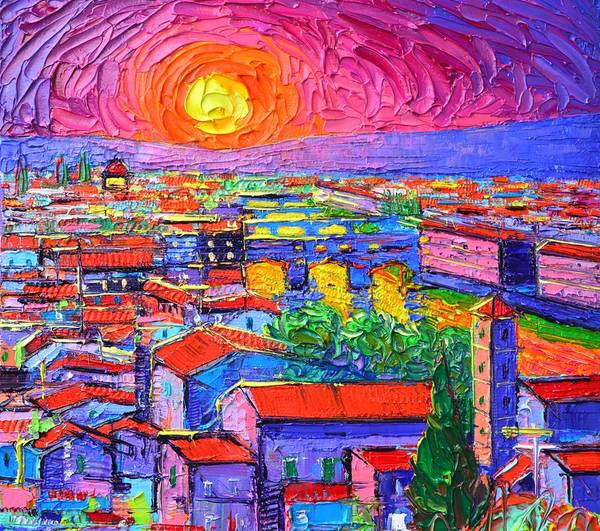Painting - Vibrant Florence Sunset Modern Impressionism Abstract City Knife Oil Painting By Ana Maria Edulescu by Ana Maria Edulescu