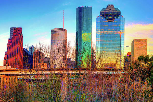Photograph - Vibrant Houston Texas City Skyline by Gregory Ballos