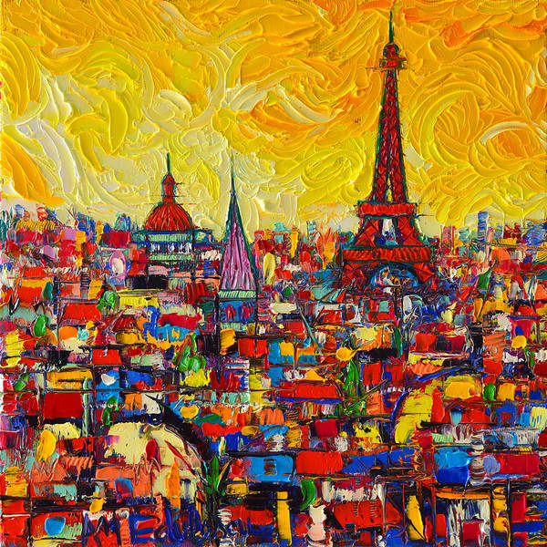 Wall Art - Painting - Vibrant Paris Abstract Cityscape Impasto Modern Impressionist Palette Knife Oil Ana Maria Edulescu by Ana Maria Edulescu