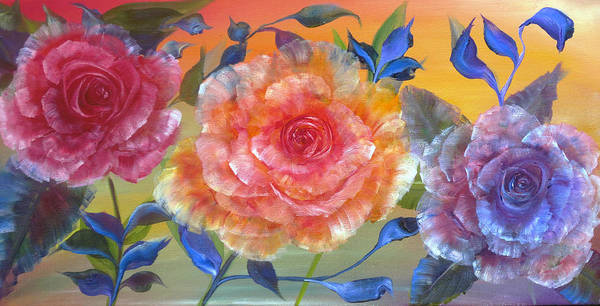 Glass Cutting Painting - Vibrant Roses by Ann Marie Bone
