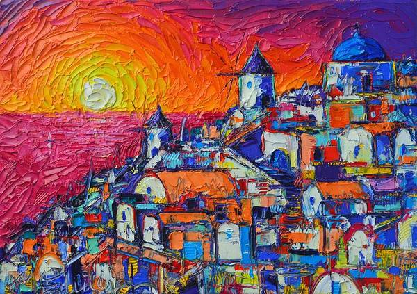 Painting - Abstract Santorini Oia Sunset Cityscape Impasto Palette Knife Oil Painting By Ana Maria Edulescu by Ana Maria Edulescu