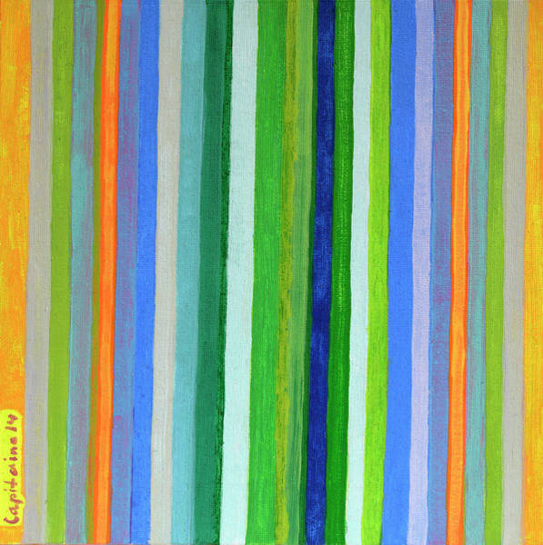 Similar Painting - Vibrant Stripes In Orange Green And Blue  by Heidi Capitaine