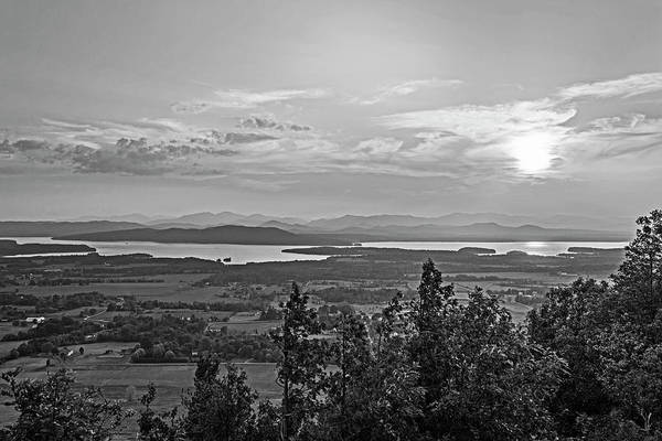Photograph - Vibrant Sunset Over Lake Champlain And The Adirondacks From Mount Philo Charlotte Vermont Bw by Toby McGuire