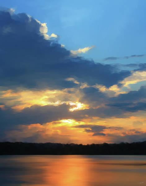 Shower Curtain Digital Art - Vibrant Sunset by Paul Tagliamonte