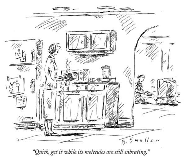 Meal Drawing - Vibrating Molecules by Barbara Smaller