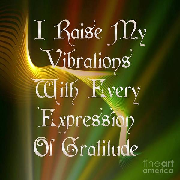 Digital Art - Vibrations Affirmation Gratitude  by Rachel Hannah