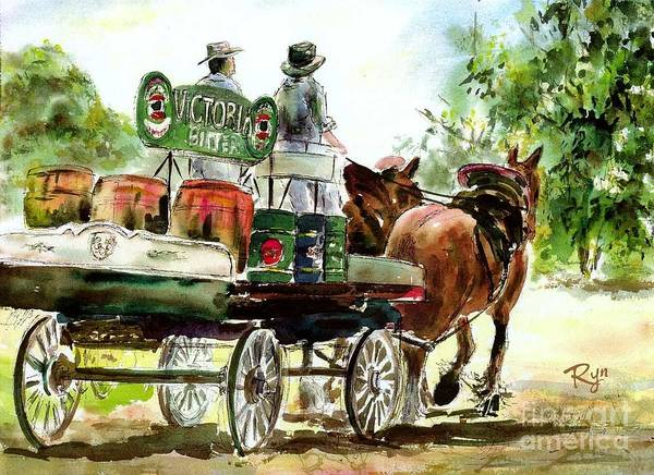 Painting - Victoria Bitter, Working Clydesdales. by Ryn Shell