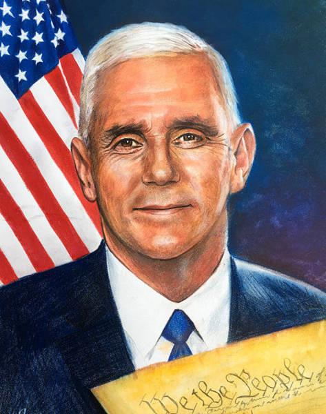 Wall Art - Painting - Vice President Mike Pence by Robert Korhonen