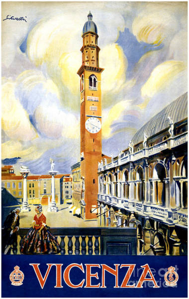 Getaway Mixed Media - Vicenza Italy Vintage Travel Poster Restored by Vintage Treasure