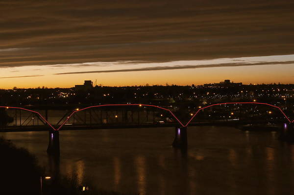Wall Art - Photograph - Victoria Bridge Saskatoon At Night by Cristina Sofineti