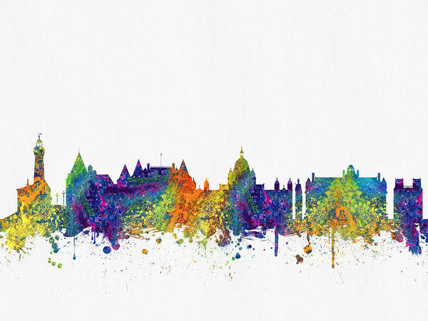 Wall Art - Digital Art - Victoria British Columbia Skyline Color03 by Aged Pixel