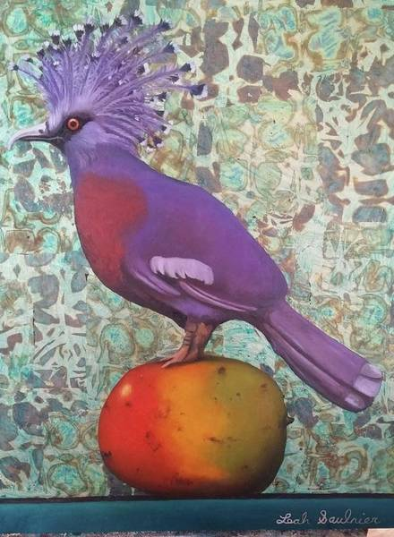 Painting - Victoria Crowned Pigeon On A Mango by Leah Saulnier The Painting Maniac
