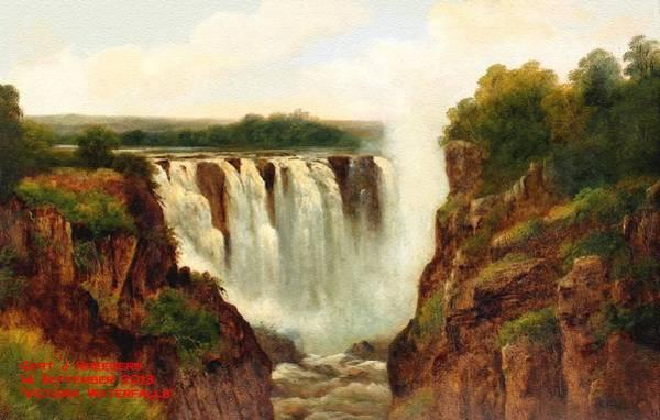 Victoria Falls Painting - Victoria Falls H A by Gert J Rheeders