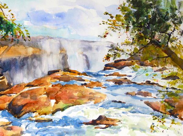 Victoria Falls Painting - Victoria Falls In Zambia by Ibolya Taligas