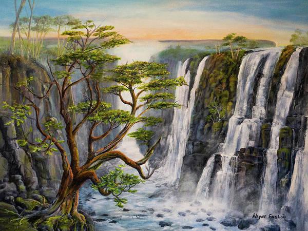 Victoria Falls Painting - Victoria Falls Zimbabwe  by Wayne Enslow