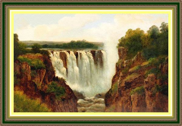 Victoria Falls Painting - Victoria Waterfalls H B With Decorative Ornate Printed Frame. by Gert J Rheeders