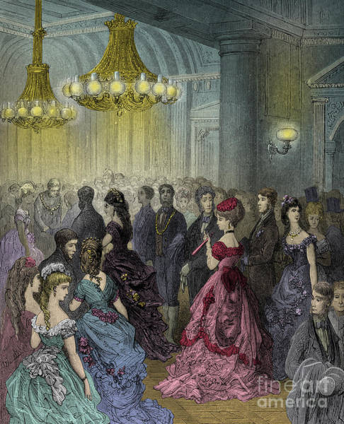 Wall Art - Drawing - Victorian Ball By Gustave Dore by Gustave Dore