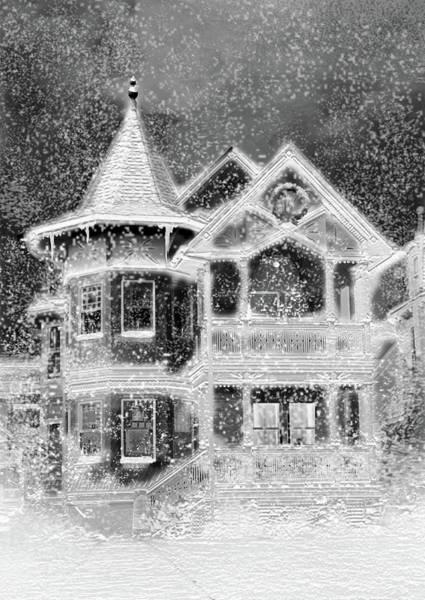 Victorian House Digital Art - Victorian Christmas Black And White by Steve Karol