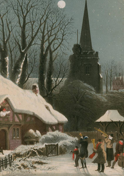 Wall Art - Painting - Victorian Christmas Scene With Band Playing In The Snow by John Brandard