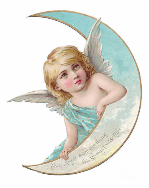 Wall Art - Painting - Victorian Crescent Shaped Christmas Card Of An Angel Leaning On The Crescent Shaped Moon by English School
