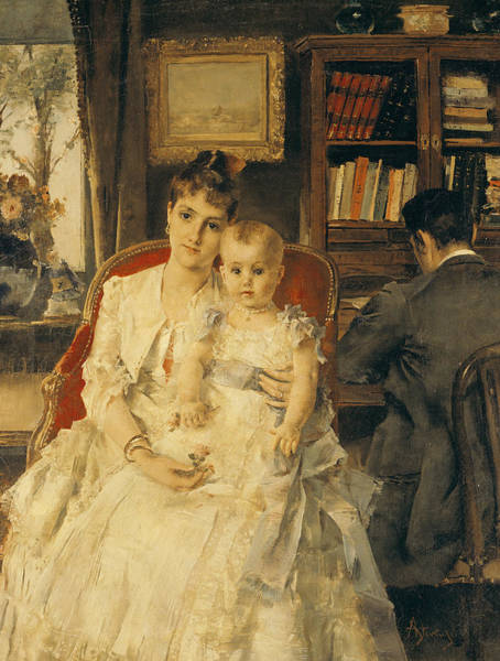 Steven Painting - Victorian Family Scene by Alfred Emile Stevens