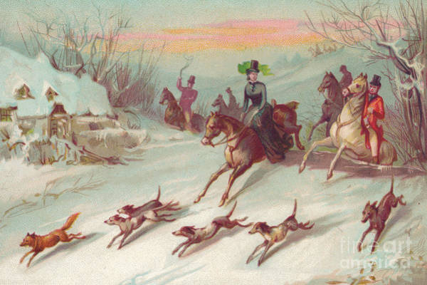 Wall Art - Drawing - Victorian Greeting Card Of A Hunting Party On Horses Chasing A Fox by English School