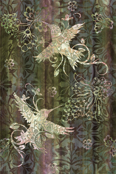Songbird Painting - Victorian Hummingbird Green by JQ Licensing