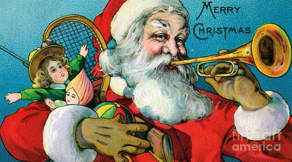 St Nicholas Painting - Victorian Illustration Of Santa Claus Holding Toys And Blowing On A Trumpet by American School