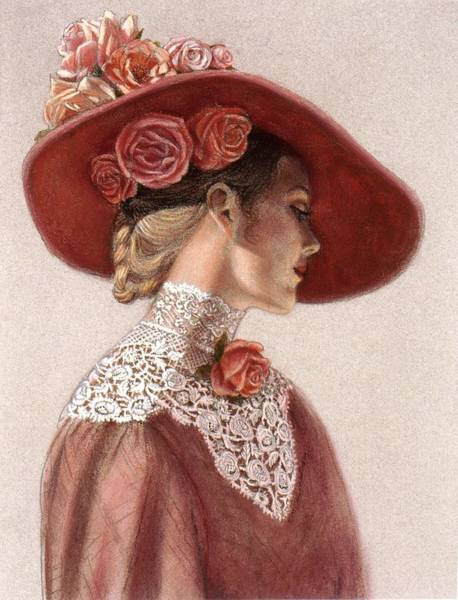 Romantic Wall Art - Painting - Victorian Lady In A Rose Hat by Sue Halstenberg