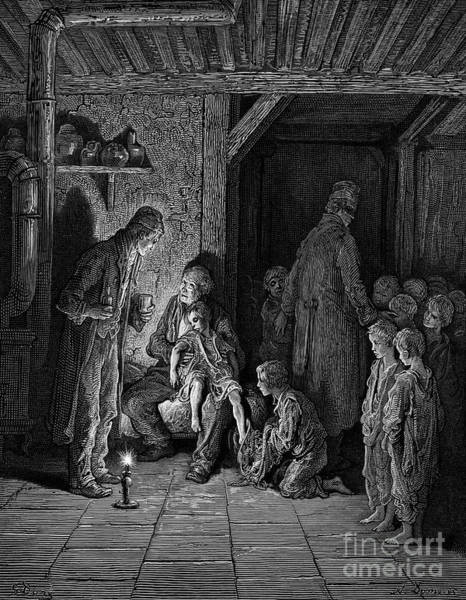Wall Art - Drawing - Victorian London Homeless Children By Gustave Dore by Gustave Dore