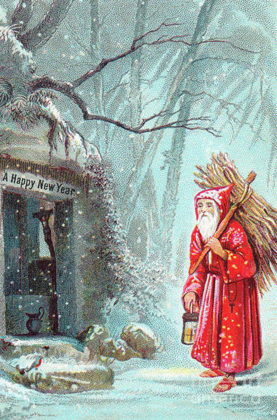 Wall Art - Painting - Victorian New Year's Card With Father Christmas Carrying Bundle Of Sticks On A Snowy Night by English School